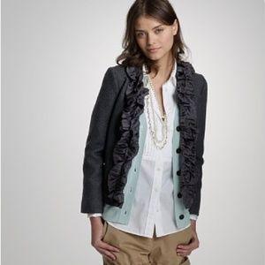 J.Crew Silk Ruffle Trim Jacket Charcoal Size 6